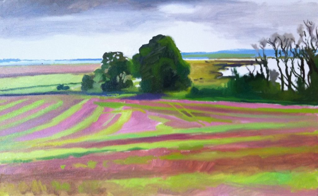 Painting of field with trees in Suffolk