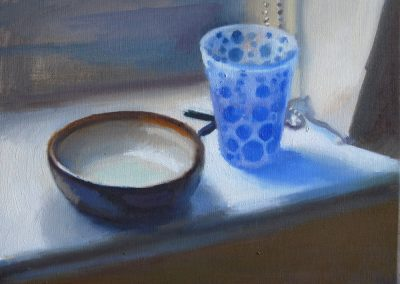 Oil on Canvas Blue glass