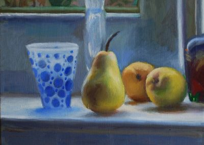 Oil on Canvas Blue Glass and Pears
