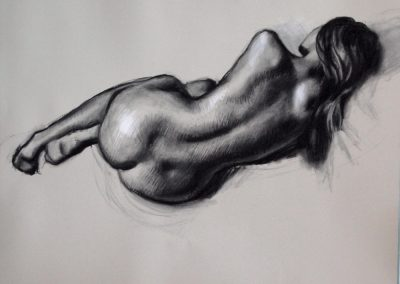 Female nude back view charcoal and chalk