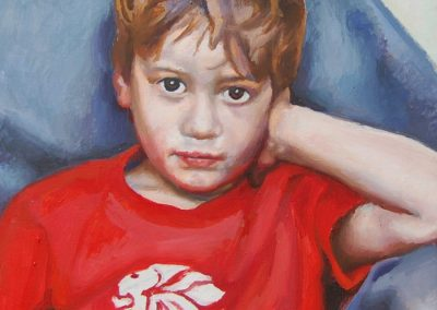 Portrait of young boy in team GB t-shirt