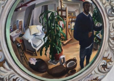 Self-portrait by Paul Wuensche looking in a convex mirror