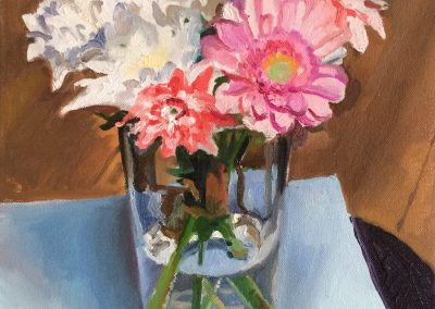 Painting of white and pink daisies