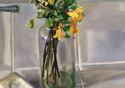 Flower painting still life with yellow flowers and bar of soap