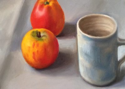 Still life painting with apples and mug