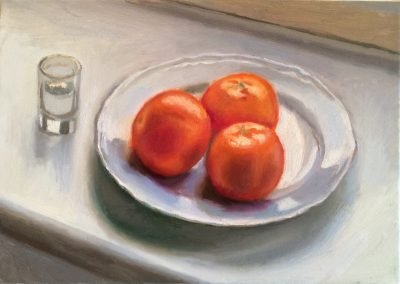 still life painting of tangerines