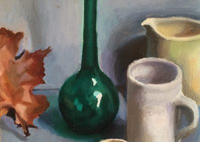 Oil on canvas Still life with green vase