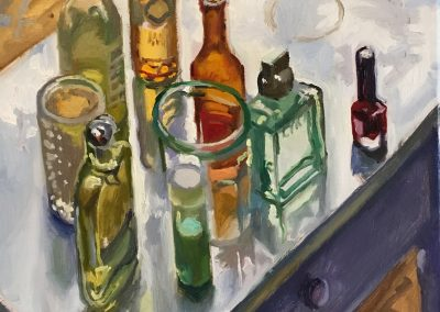 still life painting of bottles with contrejour lighting