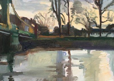 Oil on canvas Twilight Hammersmith Bridge