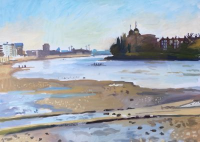 painting of view from Hammersmith towards Putney bridge