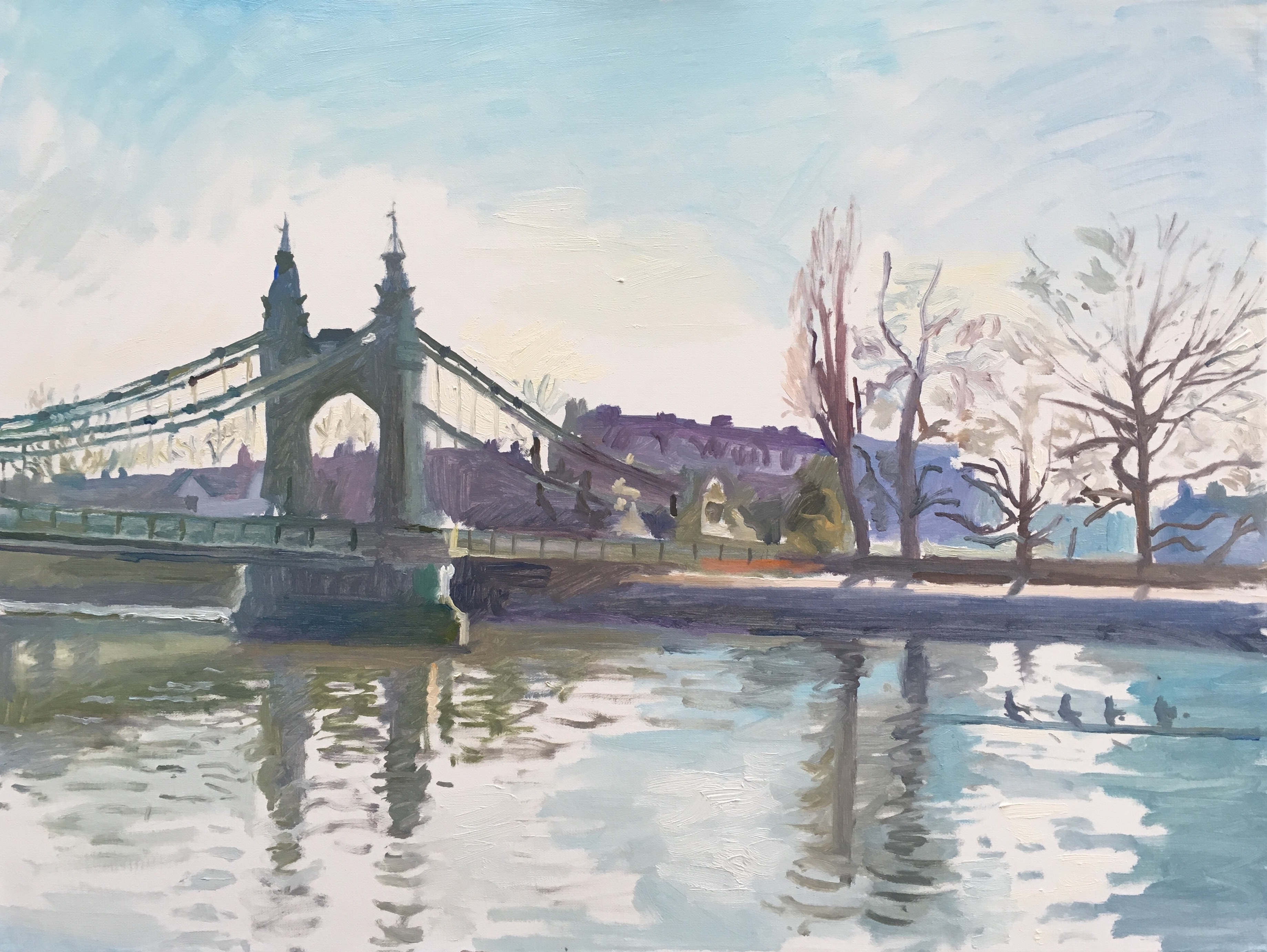 painting of Hammersmith bridge in winter