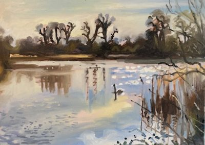 Painting of Leg 'o Mutton reservoir in Barnes