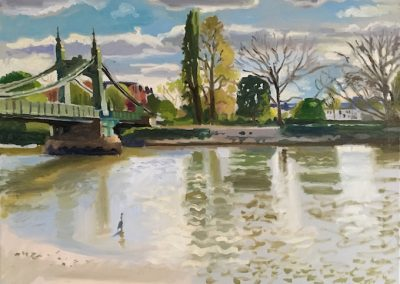 Oil on canvas River view with heron