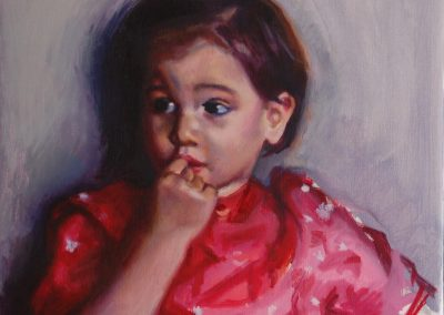 Portrait of a little girl in a red dress Kaia Haykowski