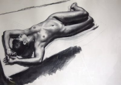 Full-figure nude charcoal drawing