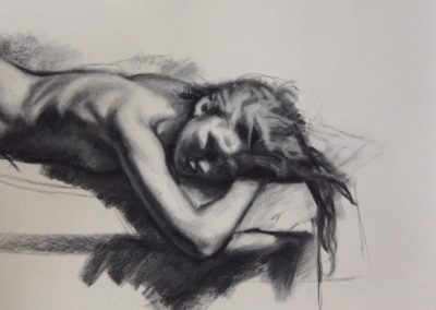 Charcoal half-figure female nude sleeping