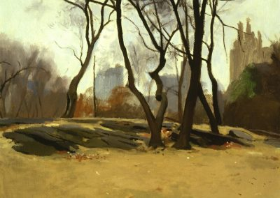 Painting of trees in Central Park New York, Winter landscape