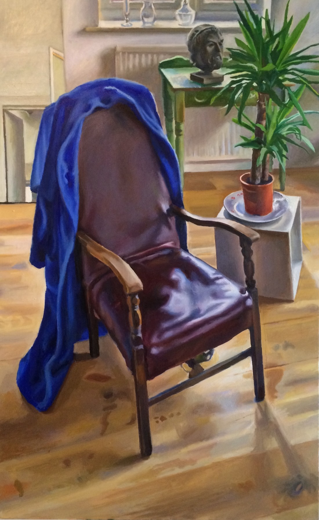 Still life with chair and a blue dressing-gown.